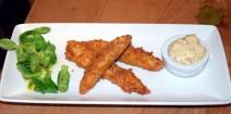 Free-range chicken goujons served with Cumberland honey mustard mayonnaise and salad